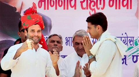 Rahul Gandhi with PCC President Sachin Pilot during an election rally at Jhunjhunu constituency, Rajasthan on Thursday. PTI