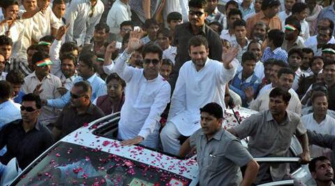 Congress Vice President Rahul Gandhi during road show in Rampur on Friday. (PTI)