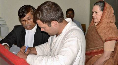 Rahul Gandhi files his nomination papers for Amethi parliamentary seat in Amethi on Saturday. (PTI)