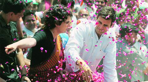 Rahul Gandhi with Priyanka Vadra on his way to file his nomination papers, in Amethi on Saturday. Vishal Srivastav