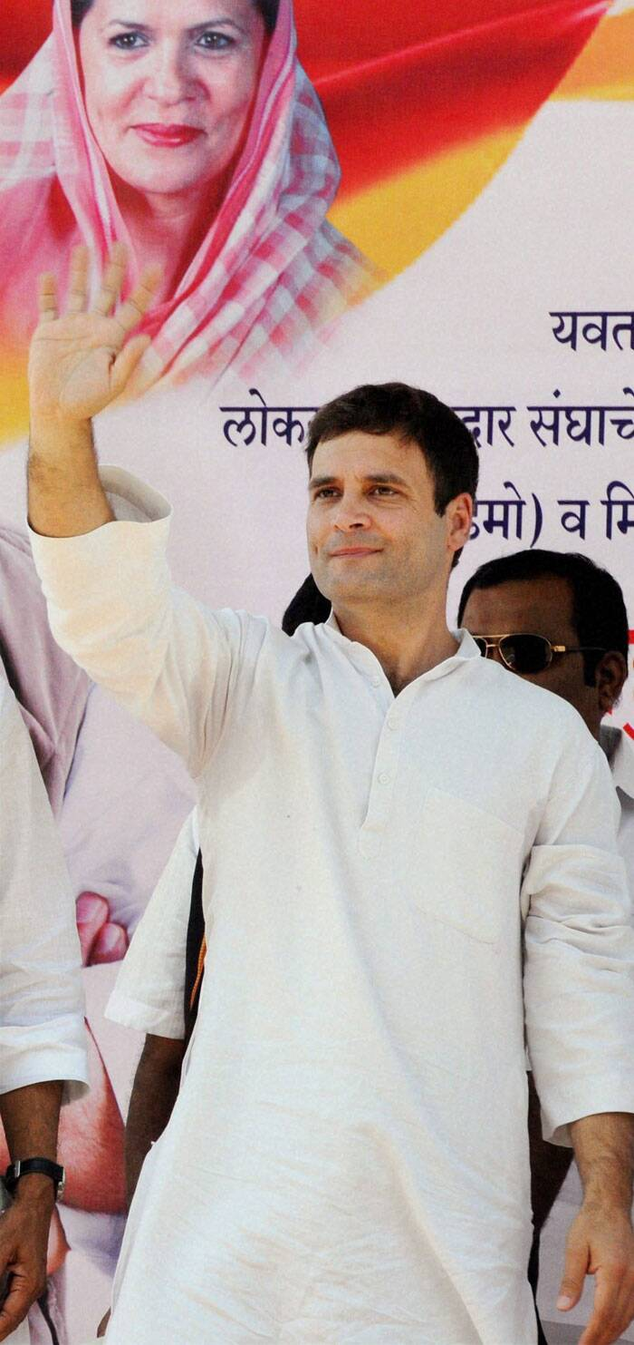 Rahul Gandhi addresses an election campaign rally at Yavatmal, Maharashtra  ahead of Lok Sabha elections on Friday. (PTI)