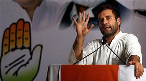 Congress Vice President Rahul Gandhi addresses an election rally in Mumbai on Sunday. (PTI)
