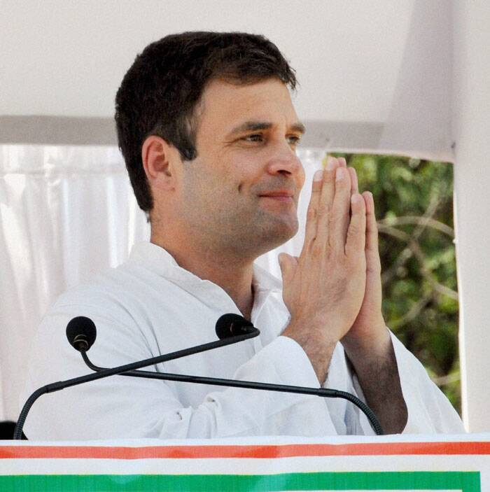 Rahul Gandhi at an election campaign rally at Yavatmal, Maharashtra on Friday. (PTI)