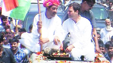 Rahul Gandhi during a roadshow to support Alwar candidate Bhanwar Jitendra Singh on Tuesday.
