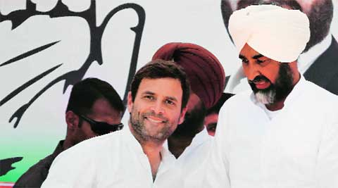 Congress vice president Rahul Gandhi (left) with Manpreet Badal during the election rally in Bathinda on Monday.  Gurmeet Singh