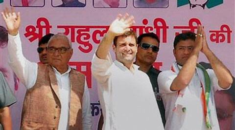 Congress Vice President Rahul Gandhi along with party members during an election campaign rally in Sirsa on Sunday. (PTI)