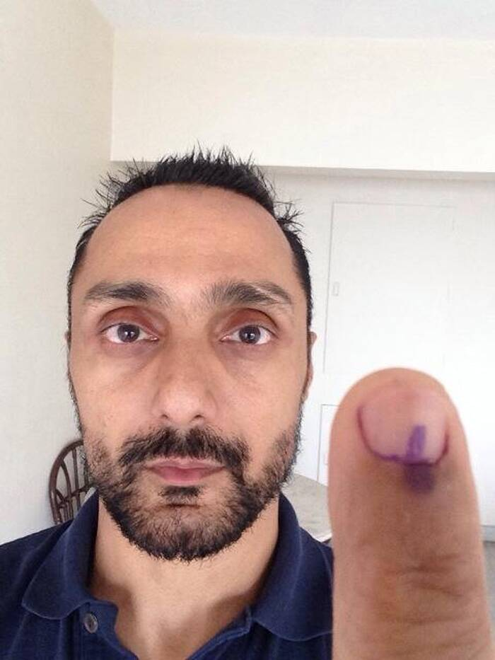"Rahul Bose tweeted, ""And so it is done. 7.13am. Third voter in the booth. Mumbai, aaple vote tak. Mahatvaca aahe."" (Photo: Twitter)"