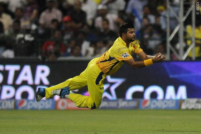 Suresh Raina dives to take the catch of Delhi Daredevils batsman Mayank Agarwal during the match. (BCCI/IPL)