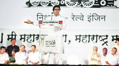 MNS chief Raj Thackeray addresses a rally at Kapre Mala in Kondhwa on Sunday evening. (Pavan Khengre)