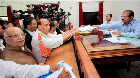 BJP President Rajnath Singh filing his nomination papers in Lucknow on Saturday. (PTI)