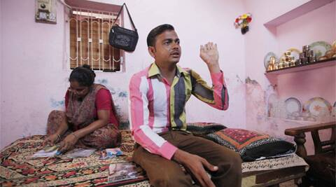 Raja Qureshi with his sister at his home in Naroda Patiya. (Express Photo: Javed Raja)