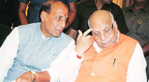 BJP president Rajnath Singh with sitting MP Lalji Tandon in Lucknow on Sunday. (Pramod Singh)