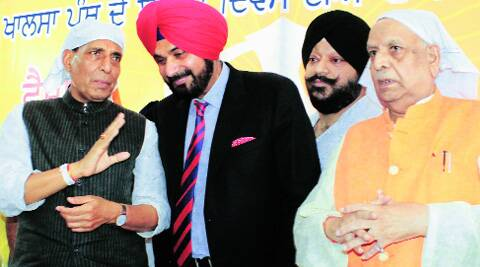 Rajnath Singhh Navjot Singh Sidhu, during campaigning in Lucknow on Monday. (Vishal Srivastav)