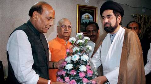 BJP President and Lucknow canidate Rajnath Singh with Shia cleric Maulana Kalbe Sadiq during a meeting in Lucknow on Monday. (PTI)