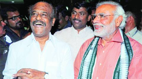 Modi with Rajinikanth in Chennai on Sunday.PTI