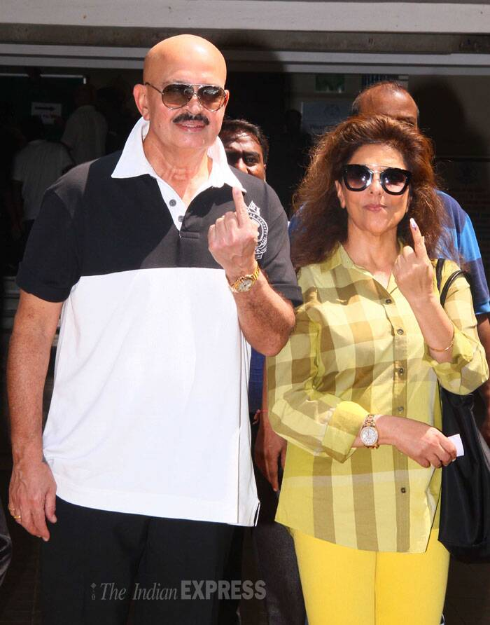 Bollywood filmmaker Rakesh Roshan came to cast in his vote with wife Pinky Roshan. (IE Photo: Amit Chakravarty)