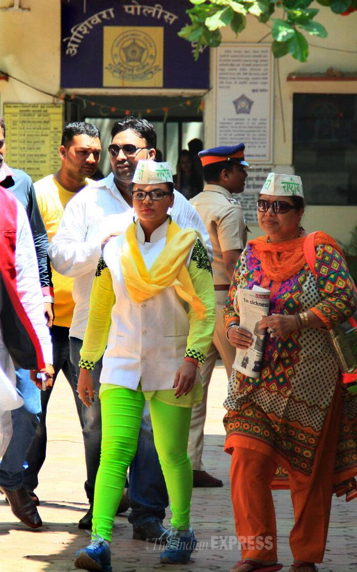 Rakhi Sawant is contesting the polls from the North West Mumbai Lok Sabha seat. (IE Photo: Amit Chakravarty)