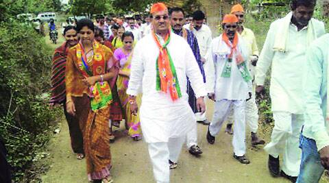 Raksha Khadse campaigns in Raver. (Express Photo)