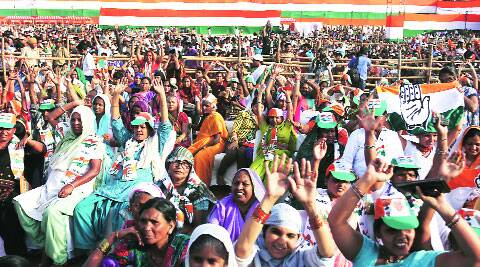 At Rahul Gandhi's rally in Ambedkar Nagar on Sunday.(Amit Mehra)