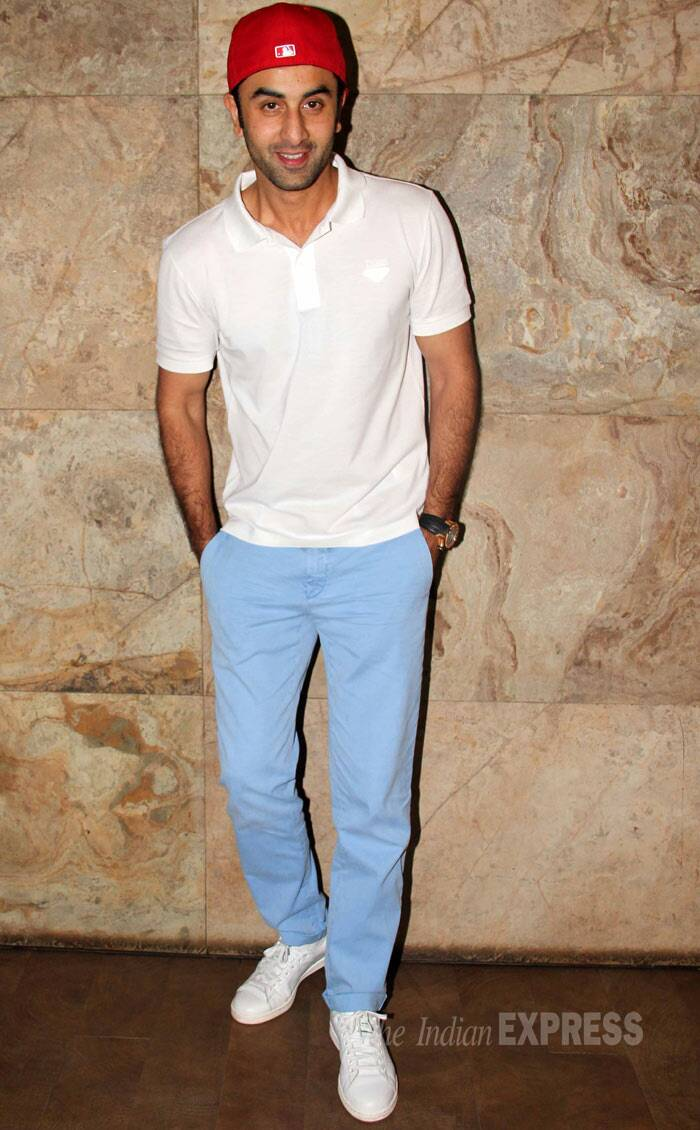 Ranbir Kapoor, who recently made headlines about alleged plans to marry Katrina Kaif in 2015, looked cool in a white T shirt and sky blue pants with sneakers and his signature baseball cap. (Photo: Varinder Chawla)