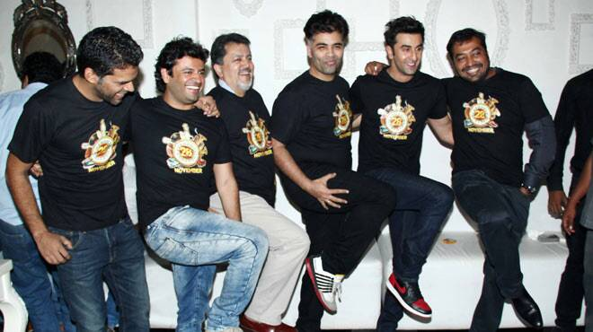 Ranbir Kapoor, Karan Johar, Anurag Kashyap at 'Bombay Velvet' wrap up party