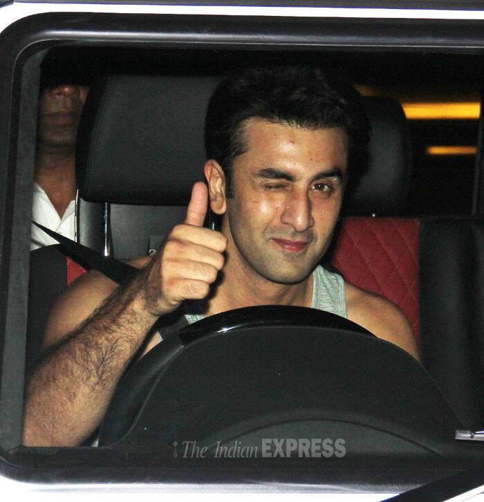 Ranbir gives a thumbs up for the cameras. (Photo: Varinder Chawla)