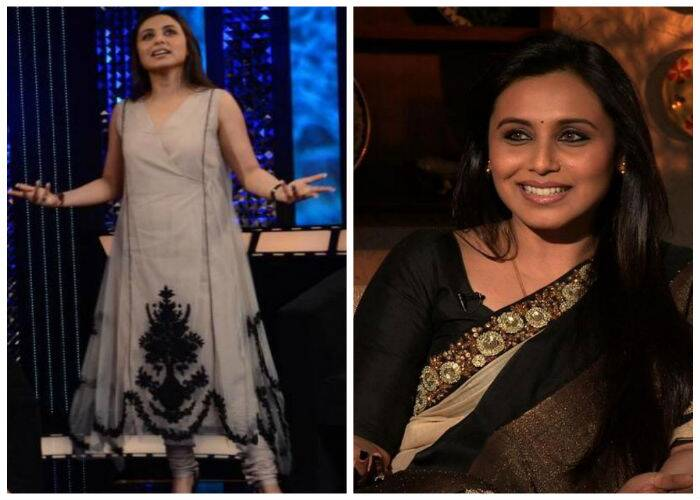 For a television interview, Rani once again impressed us with her pick – a beige Sabyasachi churridar with black work on the bottom. Peep toes and a small bindi finished off her look. Another time she appeared on the show, Rani once again stuck to her loyalties when she wore a black and gold sari, also by Sabyasachi.