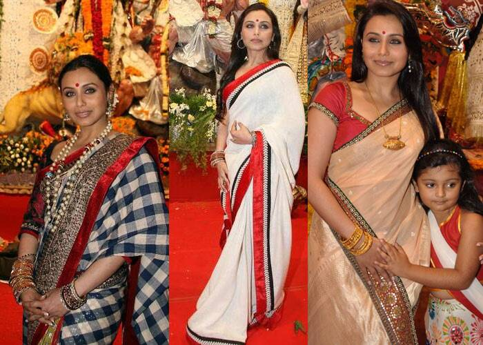 For Durga Puja celebrations, the actress has almost always donned Sabyasachi creations. There are times she has even draped the sari in a typically Bengali fashion. While others have seen Rani in the traditional red and white sari. She has also been spotted wearing the Benarasi sari for the puja.