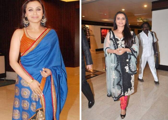 For the V Shantaram award show, Rani Mukerji picked a beautiful royal blue sari by Sabyasachi paired with a orange-red halter blouse. We loved it! The actress also showcased a monochrome kurta on red churridar pants with a dove blue net dupatta to yet another award ceremony. This look too scored high points with us.