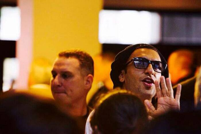 Ranveer Singh waves to the crowd at Tampa Bay Airport. (Twitter)