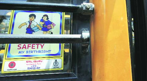 A signboard on one of the  school buses. (Arul Horizon)