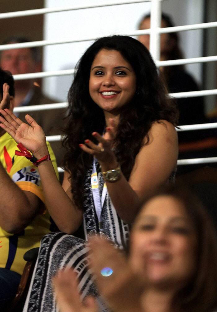 CSK's Ravichandran Ashwin's wife, Preeti Narayanan was also spotted looking thrilled in a printed outfit at the match between Chennai Superkings and Delhi Daredevils at Zayed Cricket Stadium in Sharjah on April 21. (PTI/BCCI)
