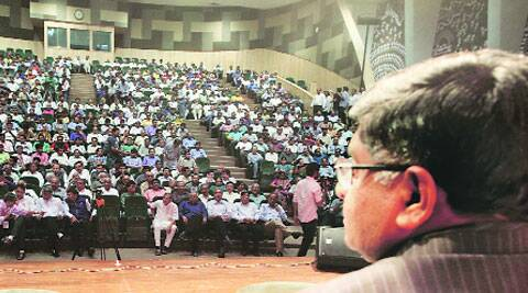 Senior BJP leader Ravishankar Prasad at a meeting in Ahmedabad on Saturday. (Javed Raja)