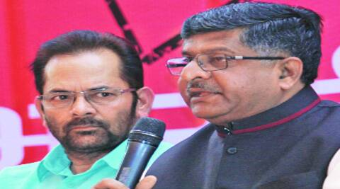 BJP leaders Ravishankar Prasad and Mukhtar Abbas Naqvi in New Delhi on Friday. (Prem Nath Pandey)