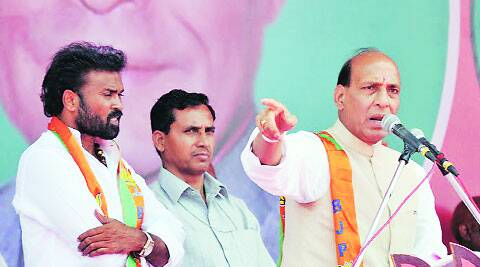 Sreeramulu (left) with BJP president Rajnath Singh.express