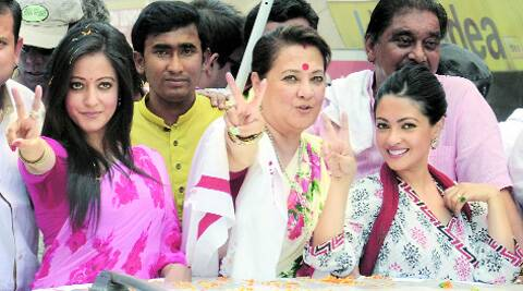 Moon Moon Sen with her daughters. Express