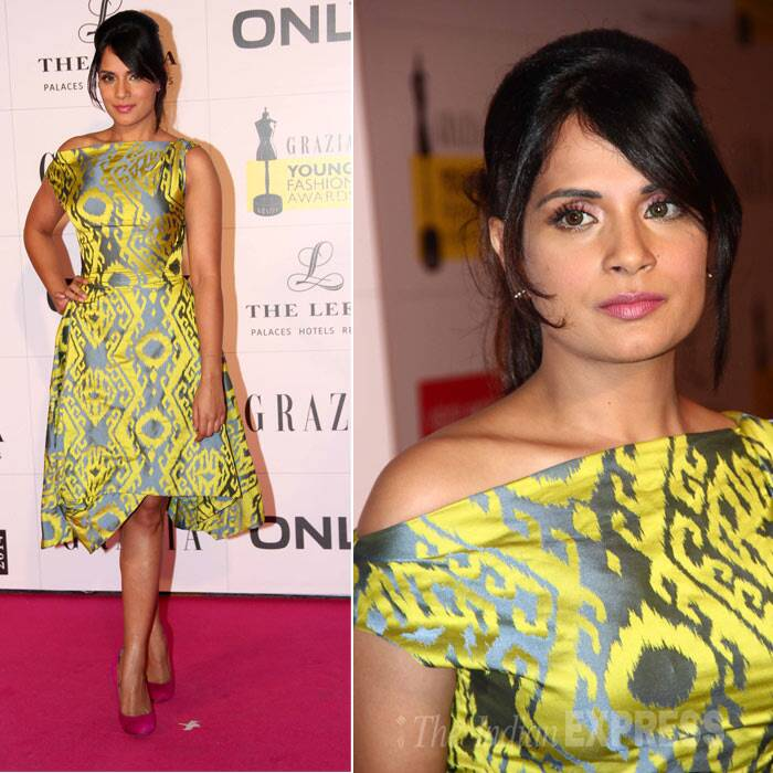 Richa Chadda has surely come a long way in the fashion world as she looked pretty in an ikat-print Vivienne Westwood dress for the Grazia awards. She opted for nude make-up, tied her hair in a ponytail. (Photo: Varinder Chawla)