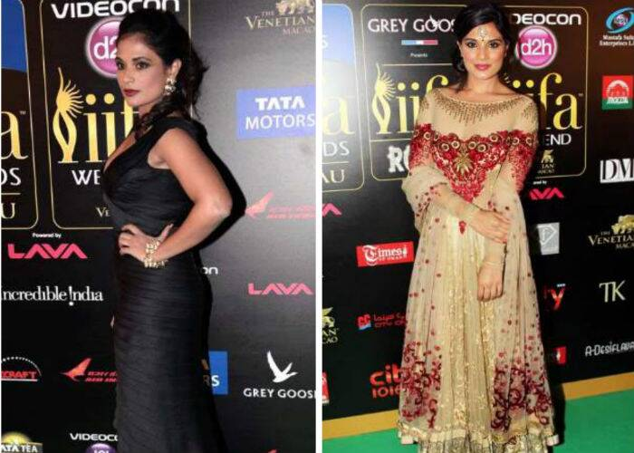 'Ram-Leela' actress Richa Chadda was chic in a black fitted gown by Pria Kataria Puri. Dark maroon lips and jewellery from House of hic added to her look. The IIFA Rocks saw the actress in a nude coloured red and gold anarkali by Tarun Tahiliani.