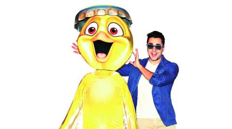 Getting goofy: Imran Khan with Nico, a character from Rio 2