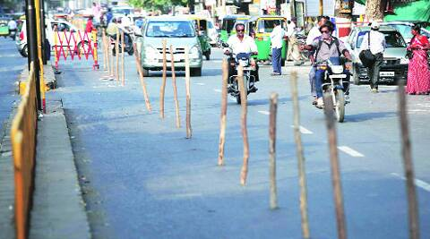 Barricades come up on roads in Vadodara, ahead of Narendra Modi's roadshow on April 9. (Bhupendra Rana)