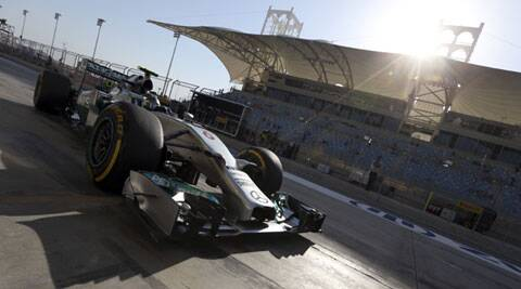 Mercedes driver Nico Rosberg of Germany goes back to the pits during the third practice session at the Bahrain Grand Prix on Saturday. (AP)
