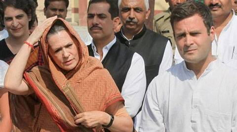 Rahul Gandhi with Sonia Gandhi, Priyanka Gandhi and Robert Vadra in Amethi on Saturday.(PTI)