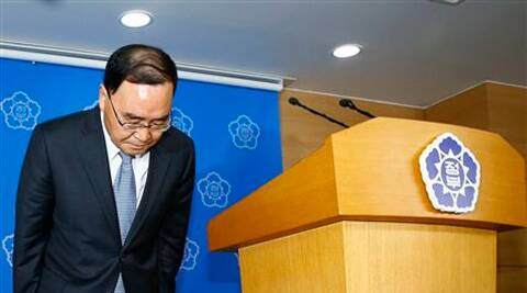 South Korean Prime Minister Chung Hong-won bows to the nation after offering his resignation at the Central Government Complex in Seoul, South Korea, Sunday.