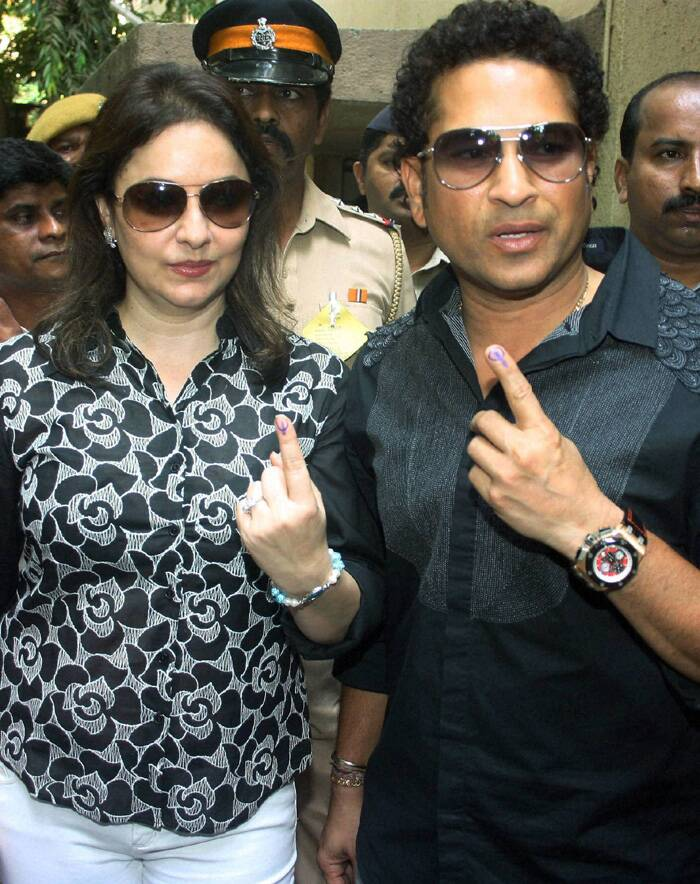 "Cricket icon Sachin Tendulkar, who is celebrating his 41st birthday on April 24, started his special day by casting his vote along with his wife Anjali at a polling booth near their residence in suburban Bandra.<br />He said, ""A wonderful start to my birthday as a responsible citizen of our great nation."" (PTI)"