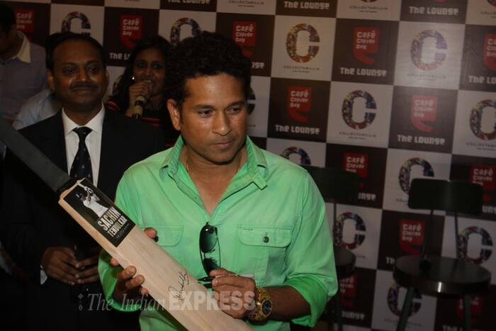 Sachin Tendulkar was seen at the launch of India's first celebrity commerce website Collectabillia. (IE Photo: Dilip Kagda)