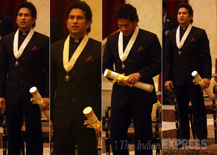 Sachin Tendulkar is perhaps the only celeb of his stature who has never been known to lose his cool.  On his 41st birthday, look at how Sachin Tendulkar, who retired from all forms of cricket last year, spent his time post retirement. From receiving the Bharat Ratna Award to enjoying a jeep safari in the jungle, and more...<br /> Sachin Tendulkar sang the entire national anthem after he was conferred with the country's highest civilian honour Bharat Ratna by President Pranab Mukherjee. (IE Photo: Neeraj Priyadarshi)