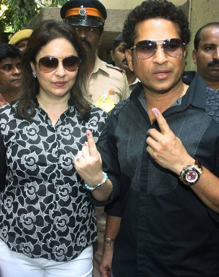 "Birthday boy Sachin Tendulkar started his birthday by voting along with wife Anjali. ""I have voted, have you? A wonderful start to my birthday, as a responsible citizen of our great nation,"" he said. (PTI)"