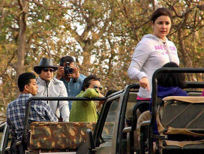 Sachin Tendulkar  was on a Gujarat tour as the legendary right-hander was spotted enjoying a jungle safari with wife Anjali. (PTI)