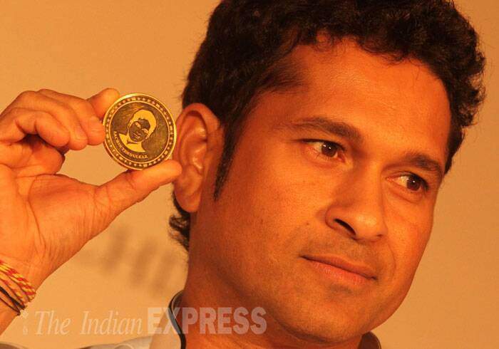 A limited edition of Sachin Tendulkar gold coins, with the senior cricketer's face and signature embossed on them, were launched on the auspicious day of 'Akshaya Tritiya' in Mumbai. (IE Photo: Ganesh Shirsekar)