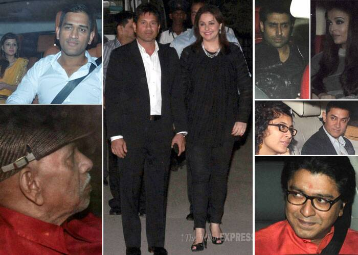 Sachin Tendulkar and his wife Anjali hosted a grand black-tie affair at a five star hotel in Mumbai on November 18 that saw the likes of Amitabh Bachchan, Aishwarya Rai, Aamir Khan, Raj Thackeray, Mahendra Singh Dhoni, Ramakant Achrekar and many more.